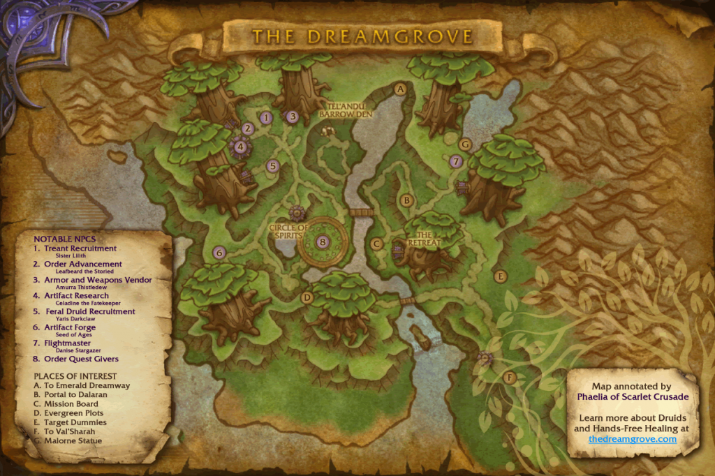 Annotated Map of the Dreamgrove